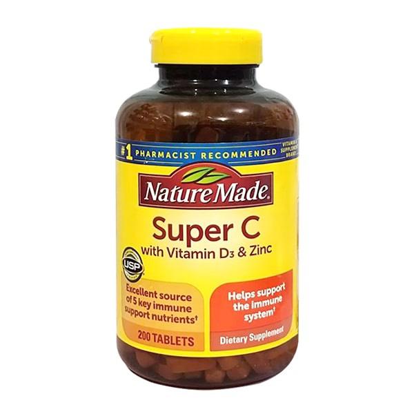 Viên uống Super C + vitamin D3 & Zinc - Us Home